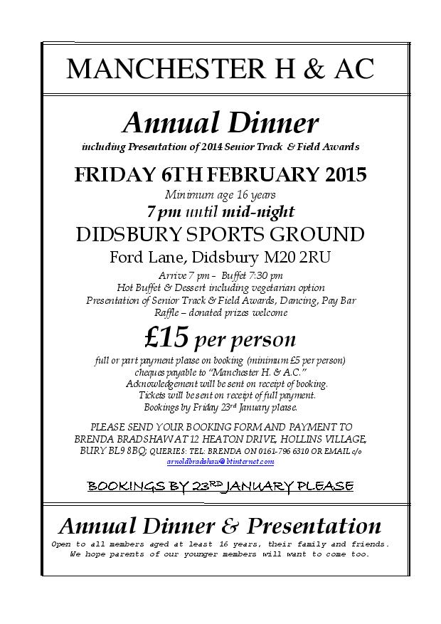 MHAC Annual Dinner including Senior T&F Awards – 6th Feb