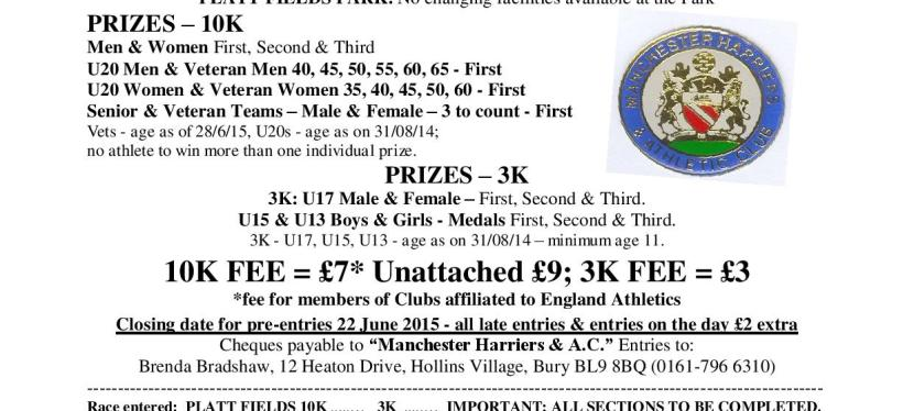 Platt Fields 3k (Junior) and 10k Road Race – 28th June 2015