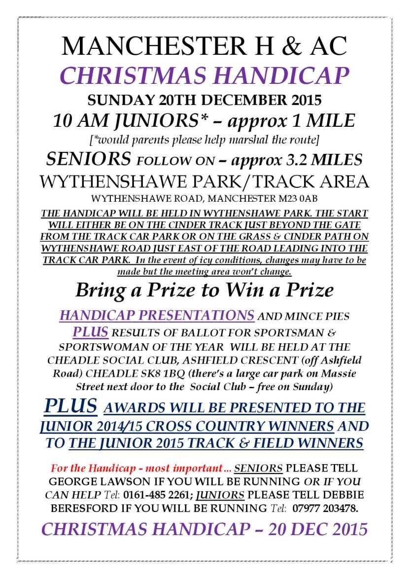 Enter the Christmas Handicap on 20th December 2015