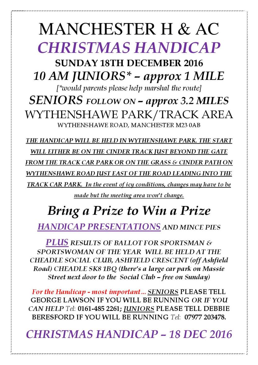 Enter the Christmas Handicap 18 December